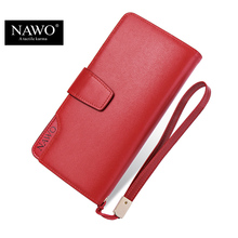 NAWO Real Genuine Leather Women Wallets Brand Designer High Quality 2016 Coin Card Holder Zipper Long Lady Wallet Purse Clutch