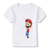 Children Print Hidden Mario Pikachu Funny T Shirt Boys Girls Short Sleeve Tops Tees Kids Baby