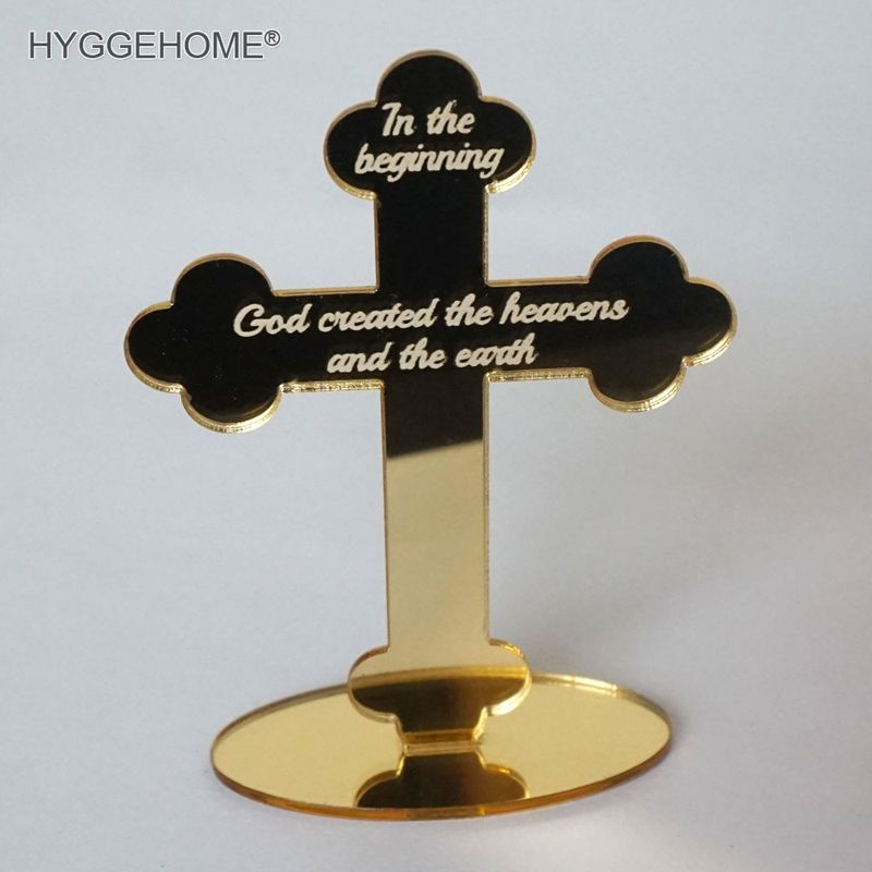 10pcs 12cm High Mirror Cross Prayer For Personalized Table God Bless Of The Lord's Prayer Christening & Baptism House Moving