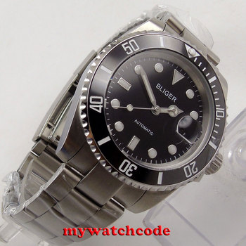 40mm Bliger black dial date window sapphire crystal automatic mens watch B156