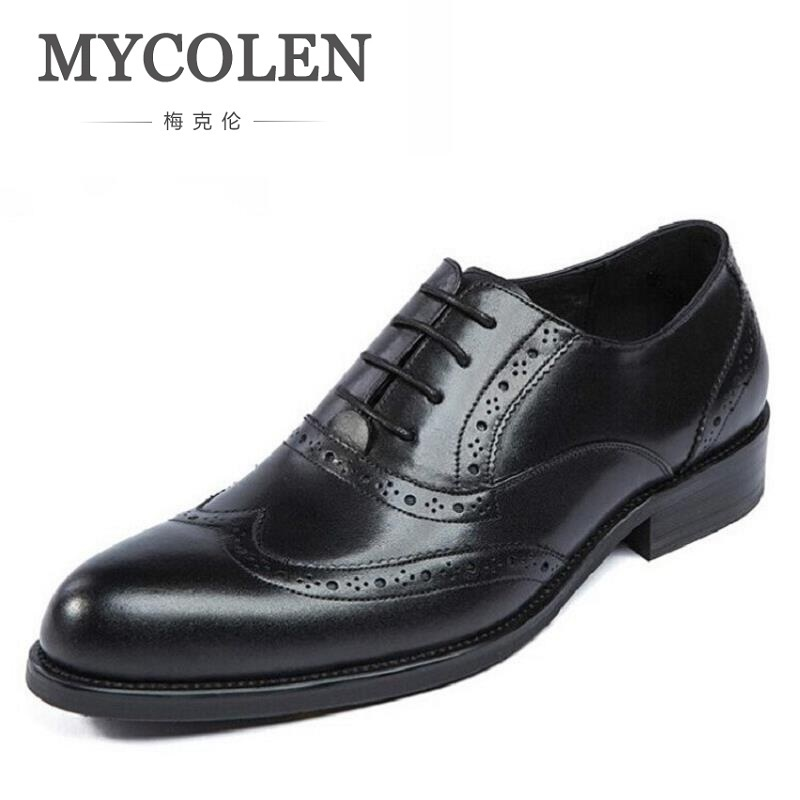 MYCOLEN New Italian Dress Shoes Men Genuine Leather Brown Black Lace Up Business Fashion Carved Wedding Shoes Male Shoes mycolen mens genuine leather shoes dress italian leather male shoes elevator glitter black brown business shoes four seasons