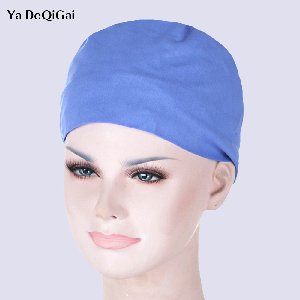 Unisex Comfortable Medical Surgical Cap Solid Color Pure Cotton Cap Printing Design Quality Medical Accessories Dentist Hats New