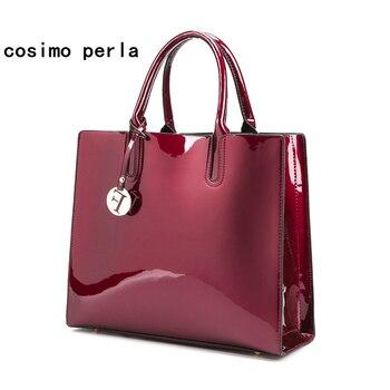 Bright Surface Patent Leather Rome Handbag 2018 Luxury Fashion Shoulder Messenger Bags Famous Brand Designer Sac A Main Tote bag grande bolsas femininas de couro