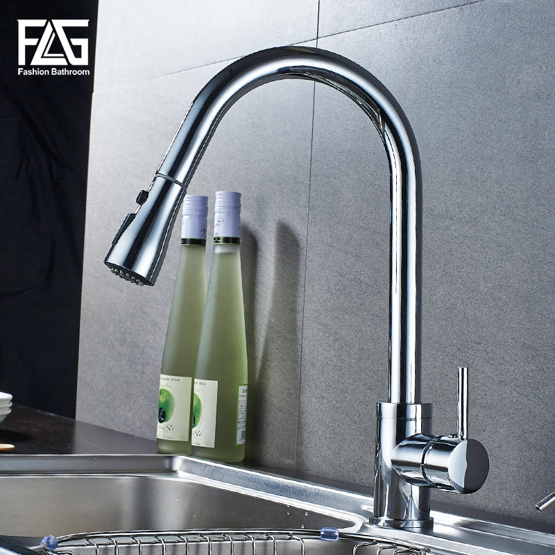 Kitchen Faucet Brushed Nickel Single Handle Kitchen Sink Faucet Pull Out Rotation Spray Kitchen Mixer Tap Crane Torneira Cozinha newly arrived pull out kitchen faucet gold chrome nickel black sink mixer tap 360 degree rotation kitchen mixer taps kitchen tap