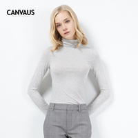 Cotton T Shirt Women Turtleneck Long Sleeve Slim Fit Pullover XXL Top Female Casual Basic Black White Gray Solid Color T Shirt