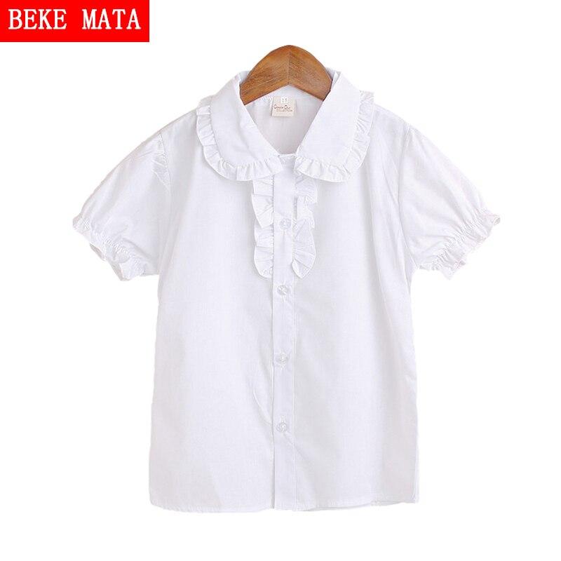 c614b77e3b9 White Girls Blouses Children 2016 Summer Short Sleeve Lace Blouse For Girls  Kids Fashion Turn-