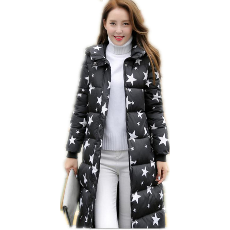 Winter Women Long Jackets 2019 New Down Cotton Jackets Female Long Sleeve Hooded Solid Winter Coats Warm Thicken   Parkas   CQ2579