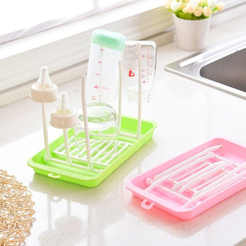 Green Baby Bottle Drying Rack,Portable Foldable Feeding Bottle Countertop Bottle Drainer Drying Holder