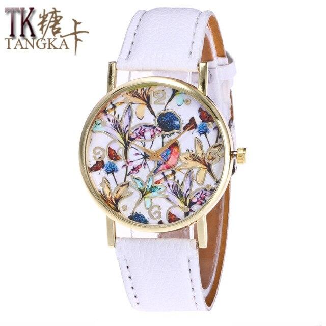 a054ff8ebc8 Moda relógio de Pulso mulher flores coloridas Relógio Analógico Pulseira de Couro  Relógio De Quartzo Senhoras