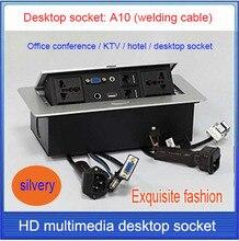Tomada de mesa/hidden/3.5 Microfone de áudio, VGA, USB, rede RJ45 Cabo Informações caixa de tomada/High-grade desktop soquete/A10