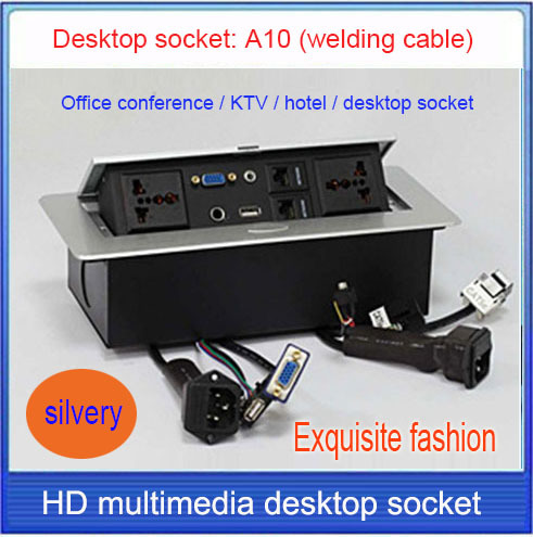 Tabletop Socket Hidden Microphone 3 5 Audio Vga Usb Network Rj45