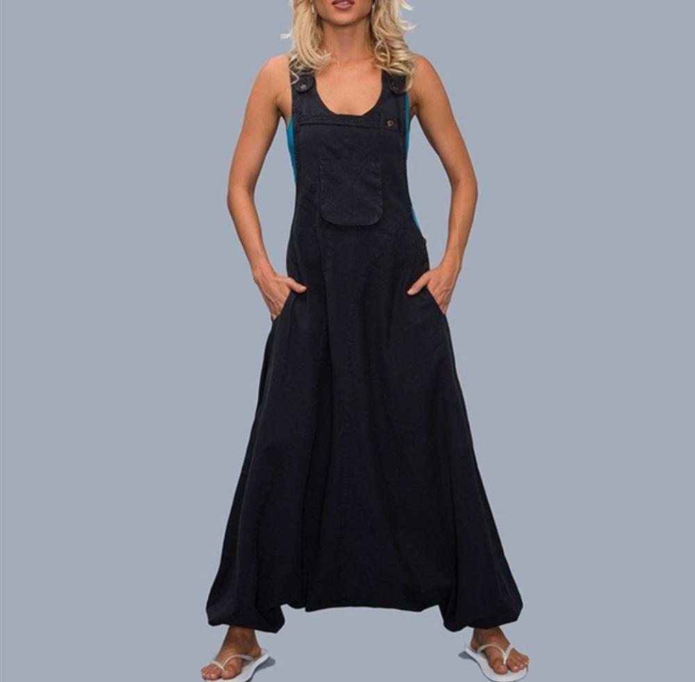 Vintage Women   Jumpsuit   Sleeveless Casual Trousers Button Pockets Solid Summer Rompers Long Playsuit Plus Size Overall 5XL