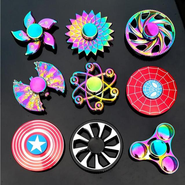 Fidget Spinner Metal Mini Multi Rainbow Color Tri Hand Finger Set EDC Quiet Wheel Kid