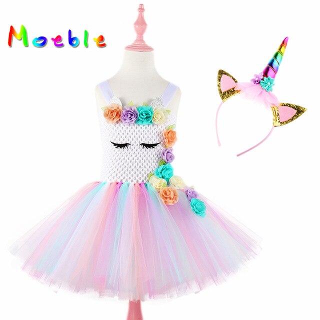 Moeble robes tutu licorne avec bandeau pour filles, Costume Cosplay, Halloween, noël, robes de fête danniversaire pour enfants