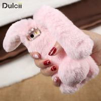 For IPhone 5 5s SE TPU Cases Bunny Shape Warm Fur TPU Cover For IPhone SE
