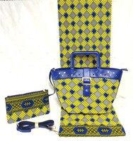 Amazing 3pcs/set African cotton Holland wax fabric(6yards/lot) with handbag and purse set FB12 2
