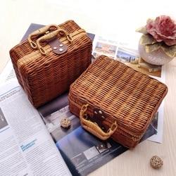 WHISM Wicker Baskets Rattan Suitcase Box Woven Storage Basket Makeup Bin Bamboo Picnic Basket Food Storage Boxes for Travel