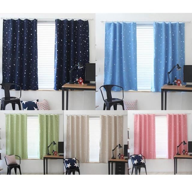 Full Blackout Shading Stars Bronzing Living Room Balcony Curtains ...