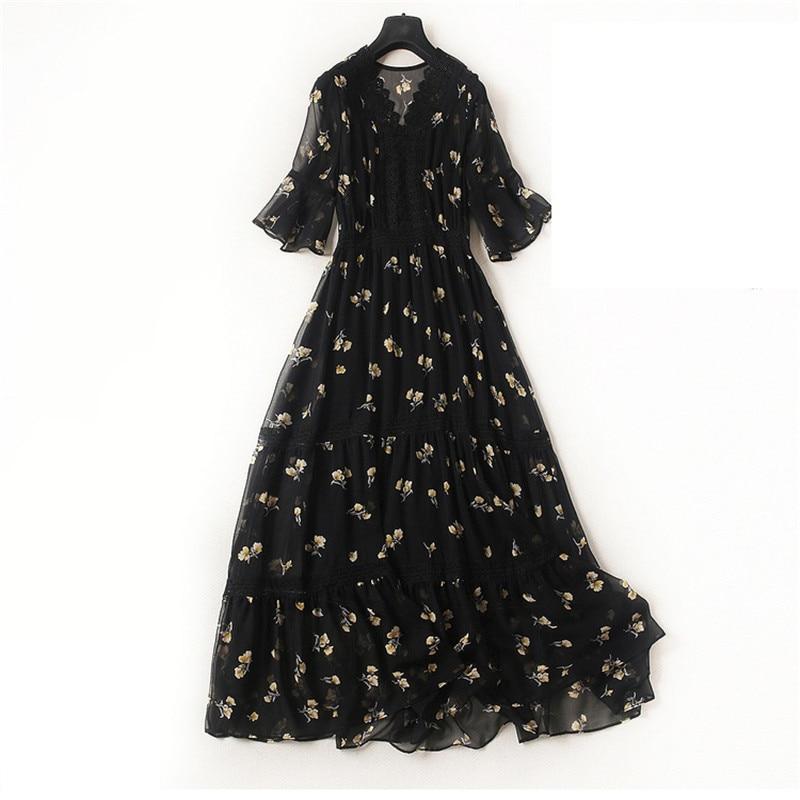 Grande taille femmes robe en mousseline de soie 2019 printemps été robe décontracté couverture ventre robe Slim imprimé robe K20