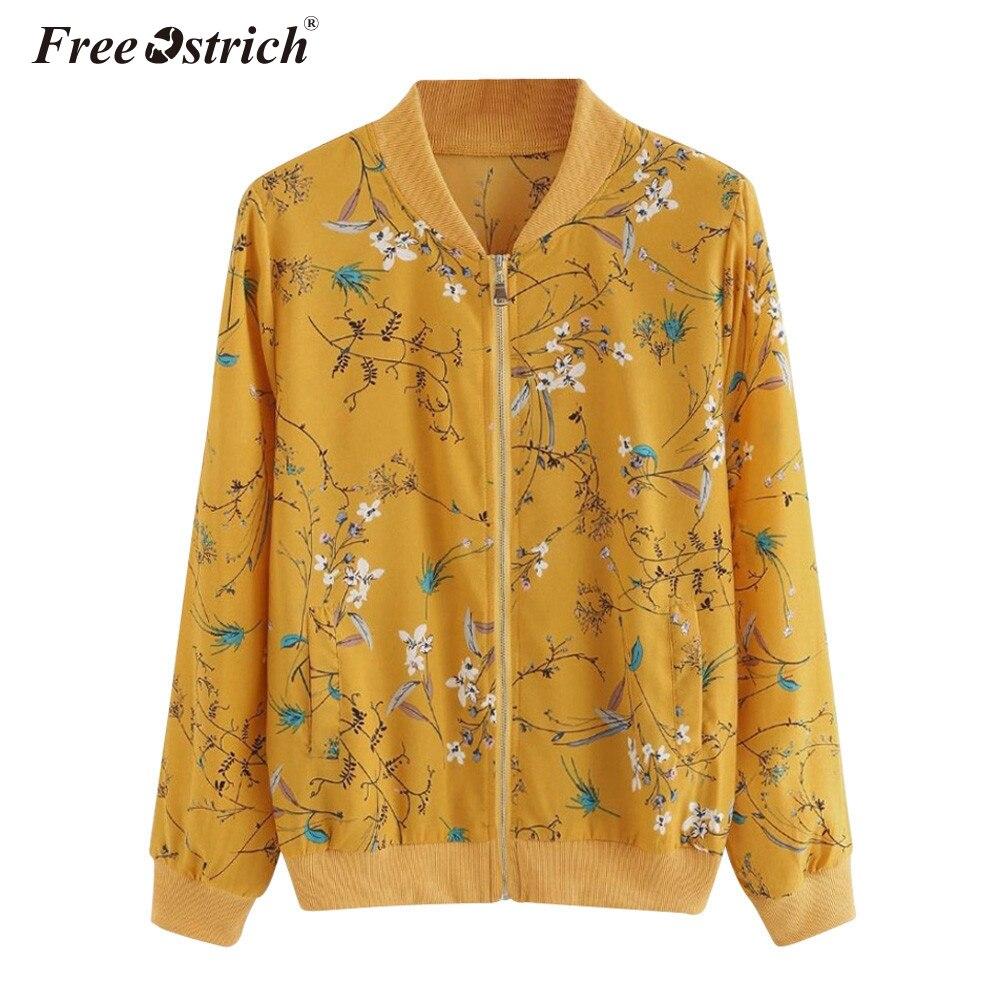 FREE OSTRICH Flower Floral Print Baseball   Jacket   Bomber   Jacket   Women   Basic   Coats Long Sleeve Zipper Outwear Autumn Clothes