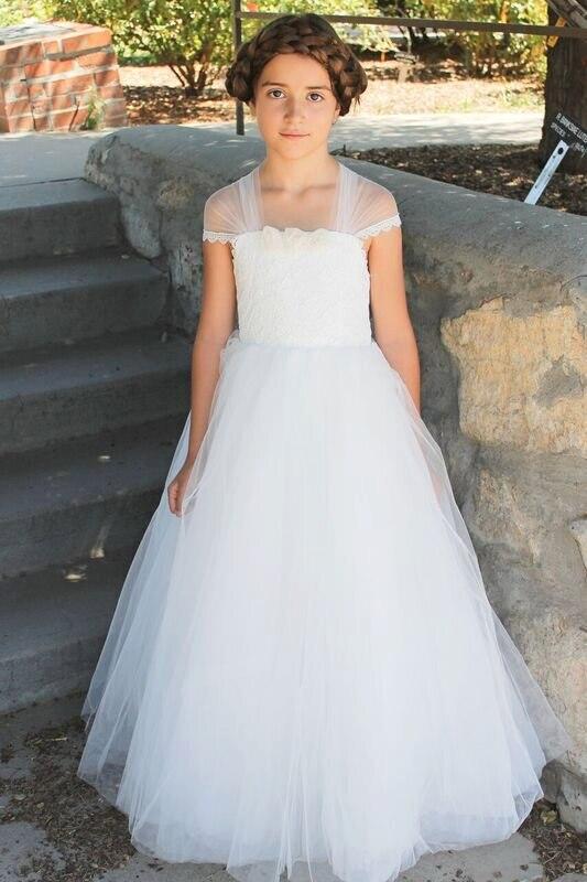 2017 First Communion Dresses for Girls Tulle Flower Girl Dresses White Mother Daughter Dresses Kids Beauty Pageant Dresses bort bsi 190s