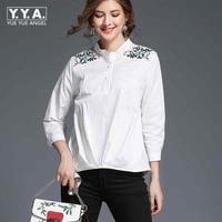 Mulheres Blusa 2018 Nova Marca Mulher Camisa Branca Escritório Usam Camisas Casuais de Alta Qualidade Blusas Partes Superiores Das Senhoras do Sexo Feminino Bordados Camisas