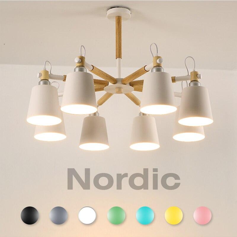 Lustre pour salon suspension moderne suspension plafonniers scandinave nordique bois blanc led suspension luminaire chambre