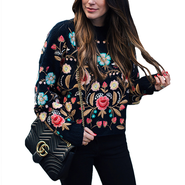 2018 vintage christmas sweater women sweater pullovers long sleeve female floral embroidery sweater elegant jumper pull - Vintage Christmas Sweater