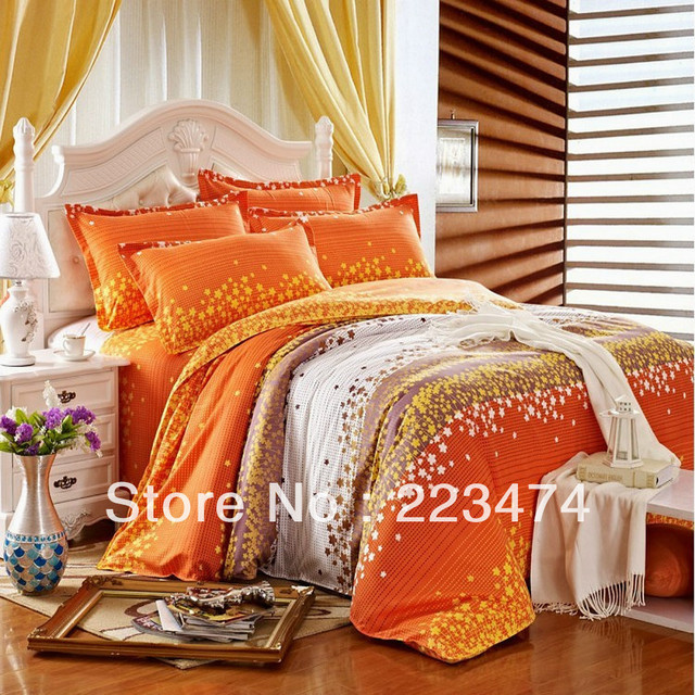 Free shipping!2013 New!100% cotton orange red and green floral comforters quilt bedding set,Queen/king Size china comforter set