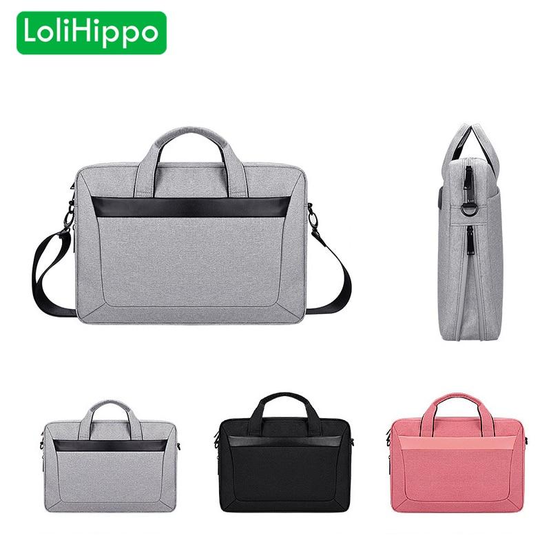LoliHippo Universal Laptop Bag Black Gray Notebook Shoulder Bag for font b Apple b font font
