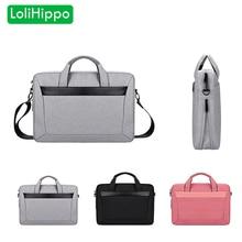 LoliHippo Universal Laptop Bag Black Gray Notebook Shoulder Bag for Apple MacBook 13 15 Inch Male Female 14.1 Laptop Briefcase