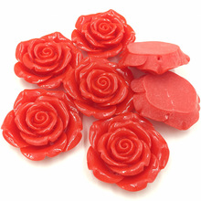 5Pcs Luggage Dome Seals Cabochons Cameos Ornament Red Rose Flower Shape Resin Crafts DIY Findings 43x41mm