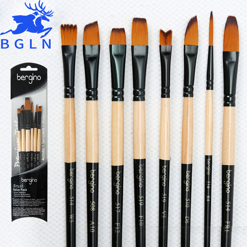 Bgln 6Pcs Artist Paint brushes Set For Oil Acrylic Watercolor Gouache Painting Brush Art Supplies free shipping 6pcs odd numbers artist wolf horse hair paint brush set acrylic oil painting watercolor art supplies