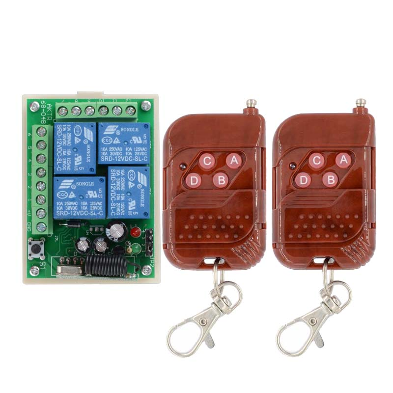 315/433MHz  Remote Switch Control Wireless Light Switch  12V 4 Channels (4 Relays)1 Receiver & 2Transmitters 2pcs receiver transmitters with 2 dual button remote control wireless remote control switch led light lamp remote on off system