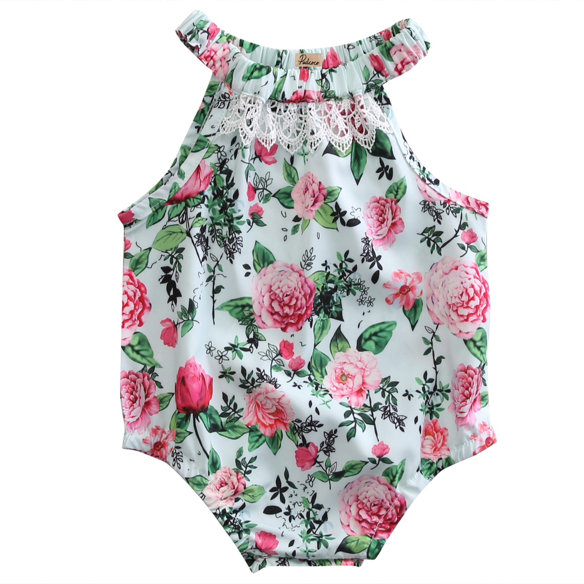Hi Hi Baby Store Kids Baby Girls Lace Flower Print Cotton Sleeveless One-pieces Bodysuits