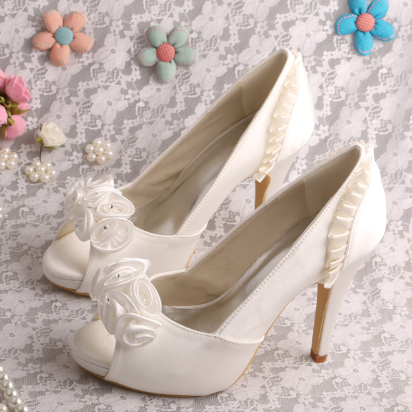 ФОТО Wedding Shoes Pumps for Women Heels Platform Shoes with Flowers Custom Made