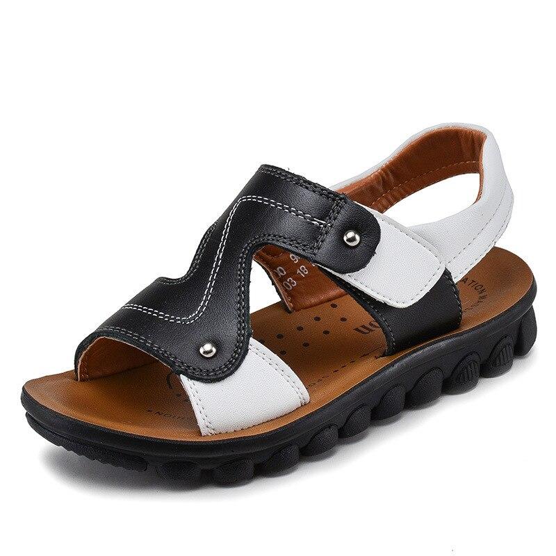 4T-14T The Above 2018 New Boys Non-Slip Genuine Leather Sandals Big Kids Summer Beach Sandals Fashion Children Shoes EUR 26-39