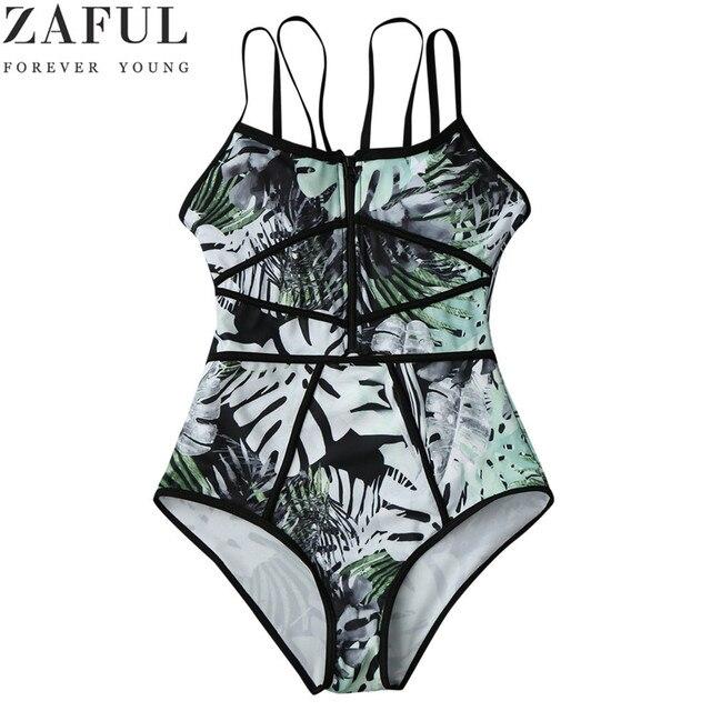 8536fdda26cf ZAFUL Tropical Print Piping One Piece Swimsuit Women Swimwear Green Leaf  Bodysuit Beach Bathing Suit Swim Monokini Swimsuit