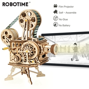 Robotime 183pcs Retro Diy 3D Hand Crank Film Projector Wooden Model Building Kits Assembly Vitascope Toy Gift for Children Adult(China)