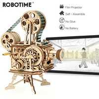 Robotime Vintage manivela Diy 3D película proyector de madera rompecabezas conjunto de juegos Vitascope juguete regalo para niños adultos LK601