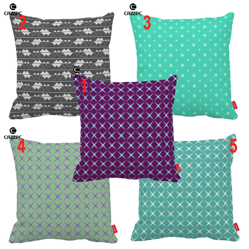 Turquoise Astral <font><b>Bohemian</b></font> Quilting Plaid Geometric Print Car Sofa Decorative Pillowcase Cushion Cover <font><b>Home</b></font> <font><b>Decor</b></font>