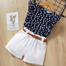 Bear Leader 2017 New Casual Children Sets Flowers Blue T-shirt+ White Pants With Pu Belt Girls Clothing Sets Kids Summer Suit bear leader kids clothes 2018 fashion sleeveless summer style baby girls shirt shorts belt 3pcs suit children clothing sets