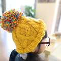 Korean Colorful Big Bud Ball Cap For Baby Girls Winter Hat Cap, Kids Knitting Wool Beanie Hat Braided Ski Cap