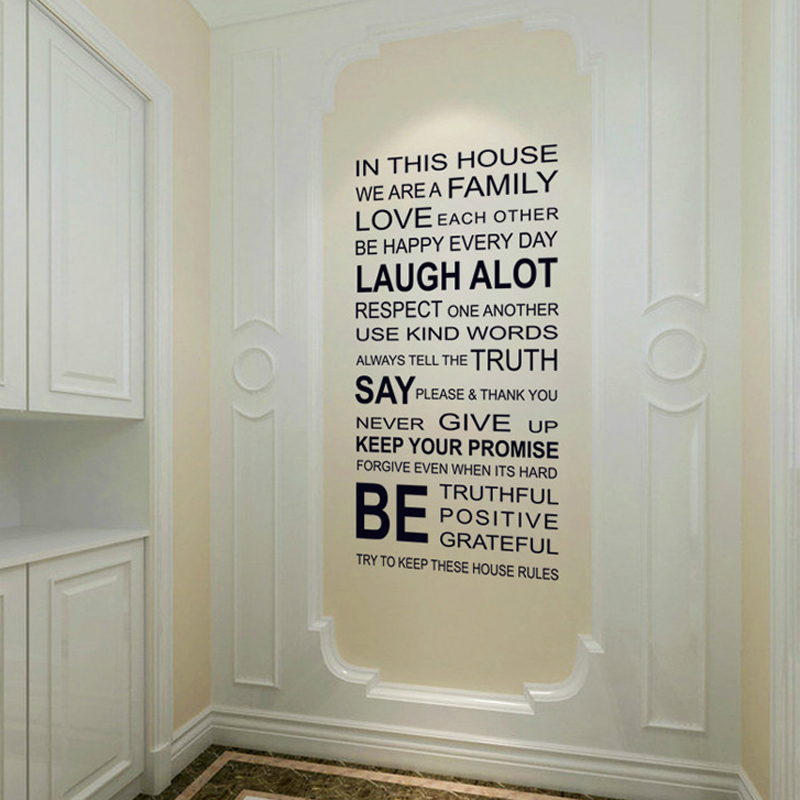 (2 Piece/lot)House Rules Vinyl Quote Wall Stickers Home Decor Diy English  Words Decals Removable Sticker For Office Decoration In Wall Stickers From  Home ...