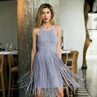 Высокое качество, женское сексуальное платье с кисточками, серый, синий, искусственный шелк жаккардовое Бандажное платье 2018 Элегантное три