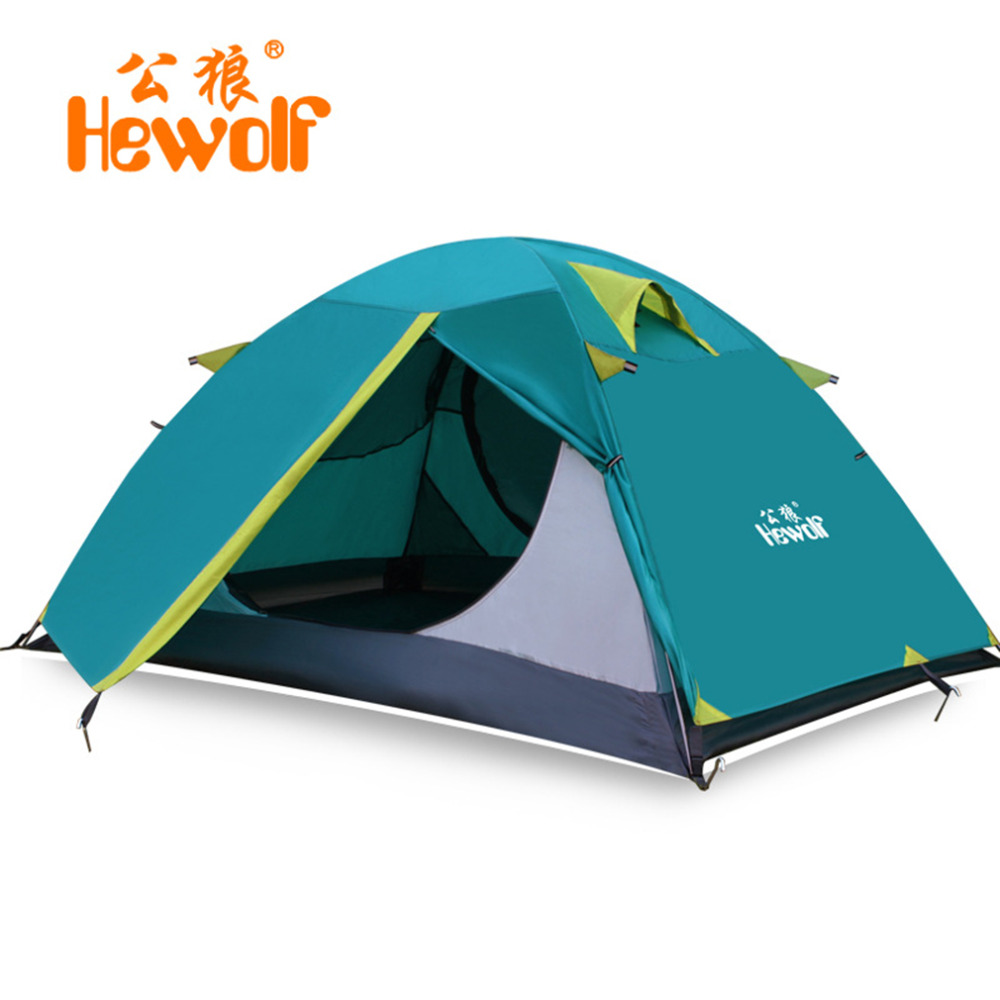 Hewolf 2 Person Tents Camping Tents Double Layer Waterproof Windproof Outdoor Tent Hiking Fishing Hunting Beach Picnic Party hewolf 2persons 4seasons double layer anti big rain wind outdoor mountains camping tent couple hiking tent in good quality