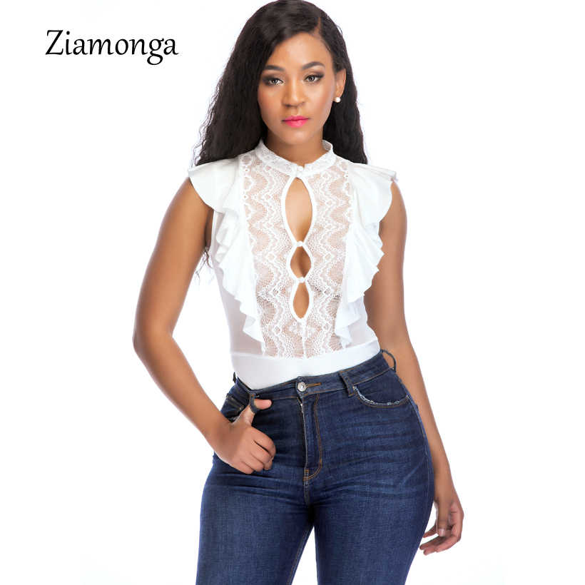 bdddbe7ee6e7 Ziamonga Sexy Lace Bodysuit Women Fashion Hollow Out Black White Mesh  Jumpsuit Stretchy Playsuit Romper Body