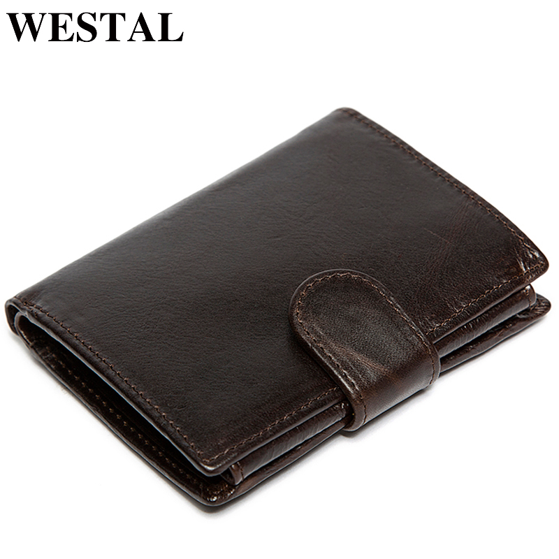 WESTAL Oil Waxing Men Wallet Genuine Leather Wallet Man Coin Purse Wallets Card Holder Men Wallets Male Clutch Credit Card9049