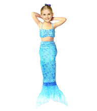 лучшая цена summer girls dress the little mermaid tail princess ariel dress cosplay beach swimsuit costume for girl fancy halloween dress