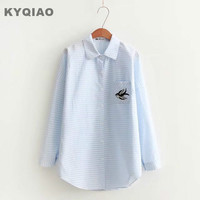 KYQIAO Ladies Office Shirts Women Autumn Winter Spain Style Turn Down Collar Blue Stripes Birds Embroidery